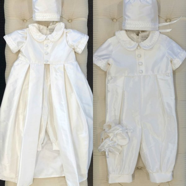 First Communion Dresses Short Sleeve Ankle Length Applique With Hats Baby Kids Infants Jumpsuits Christening Dress