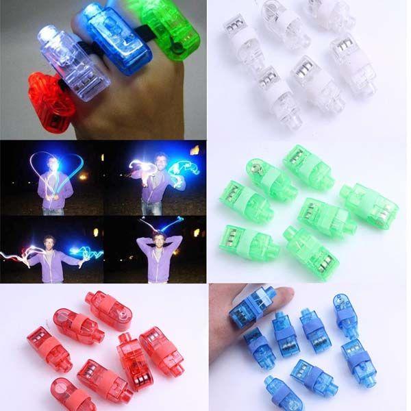 50 PCS LED Finger Ring Beams Party Nightclub Gadget Glow Laser Light Torch