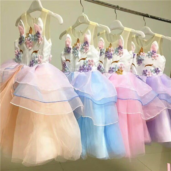 Summer four-color flower unicorn children princess dress children's clothing girls dress wedding dress fashion summer for girls v 002