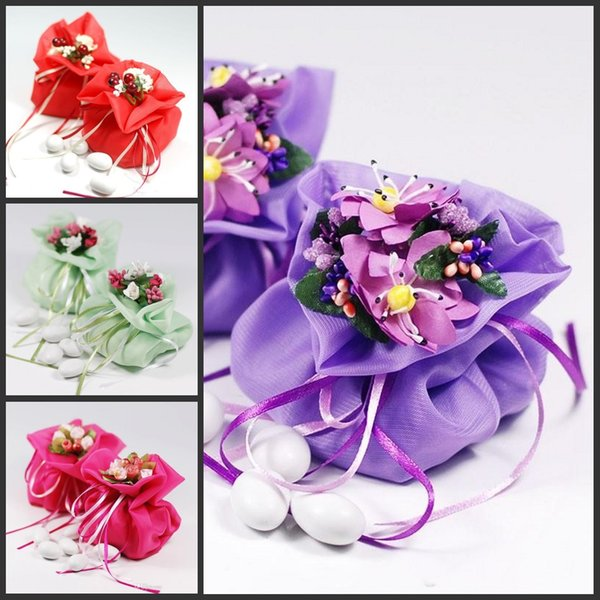 Italian Style Double Satin Wedding Favors Bags Yarn Pouch With Flower Bouquets For Wedding Favours Table Decoration Supplies