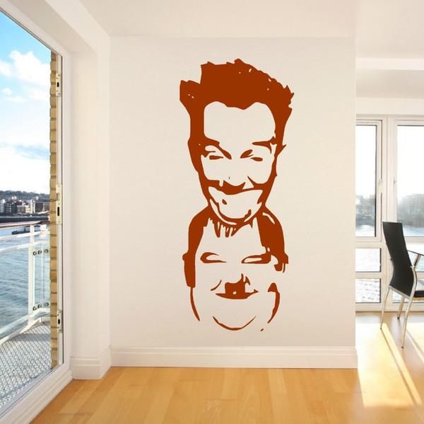 Famoso LAUREL E HARDY Comédia Decalques de Vinil Removível Corte Home Decor Art Pessoas Adesivo Licing Room Papel De Parede
