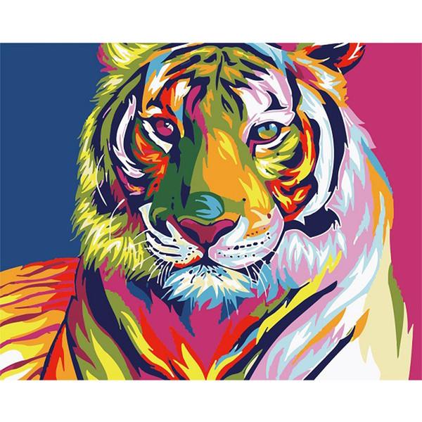 Gros-bricolage numérique peinture à l'huile par numéros image de décor de mur de tigre de neige sur la peinture à l'huile de peinture à colorier par nombre dessin animaux 30 * 40cm