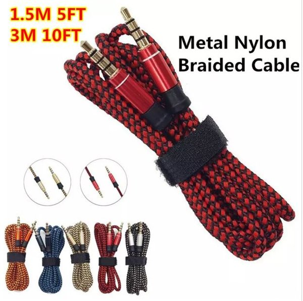 3M 10FT 3.5MM Braid Aux Cable Unbroken Metal connector Car audio extension Cable Male to Male Universal For Mobile phones , Tablet PC, ipod