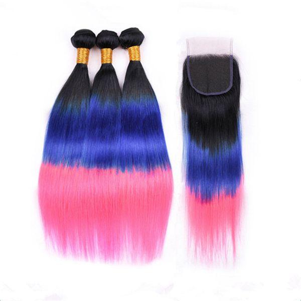 Recta sedoso # 1B / azul / rosa Ombre paquetes de armadura de cabello humano peruano con 4x4 encaje Cierre de tres tonos color 3 ofertas de paquete con cierre