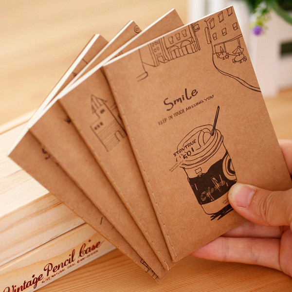 top popular Vintage Notebook Soft Copy 64K Small Notepad Kraft Paper Notebook Portable Students Gifts 2021
