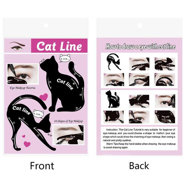 New Arrival Charming Cat Line Eye Makeup Tool Eyeliner Stencils Template Shaper Model Beginners Efficient Eyeline Card Tools