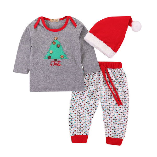 Baby Xmas outfits children boys Christmas tree Button top+pants with Santa Claus hat 3pcs/set 2018 Autumn fashion kids Clothing Sets C5047