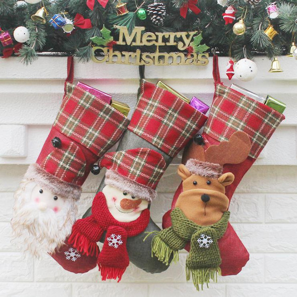 Christmas Stockings Hand Made Crafts Children Candy Gift Santa Bag Claus Snowman Deer Stocking Socks Xmas Tree Decoration toy gift #34 35 36