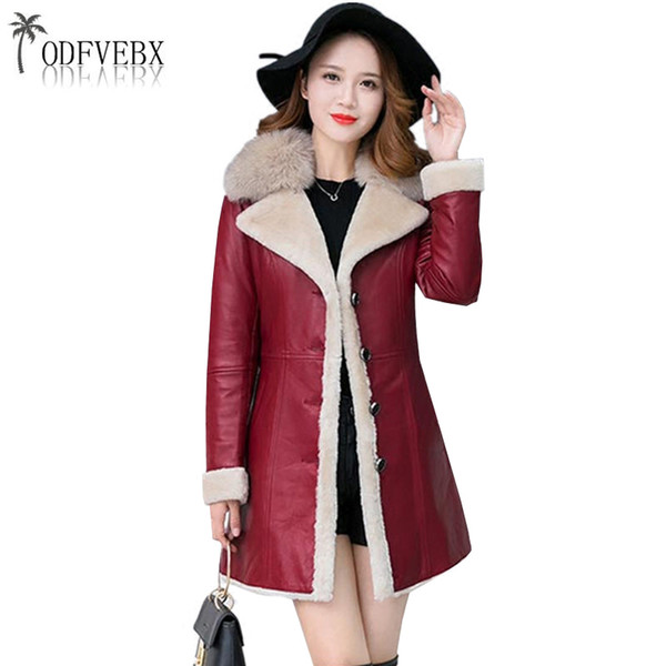 Acheter Manteau En Cuir De Peau De Mouton Femmes Vin Noir Rouge Mouton Cisaillement Doublure Manteau 2018 Hiver Épaissir Chaud Femelle En Cuir Veste