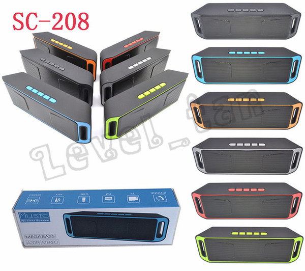 SC-208 Bluetooth Music Wireless Speakers A2DP Stereo Megabass Speaker Handsfree TF Card AUX 3.5mm Subwoofer MP3 Player With Retail Package