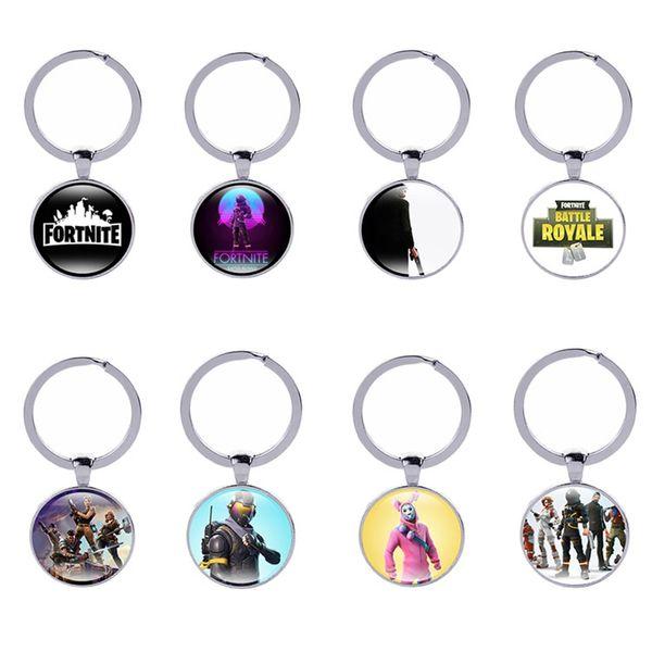 Fortnite Keychains 86 styles Creative Hot FPS Game Logo Keyrings Fans Souvenir Gift Fashion Men Women Keyring holder Accessories Wholesale