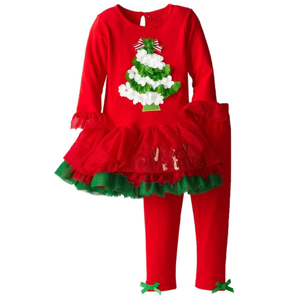 Kırmızı Bebek Kız Noel Elbise Giyim Setleri X'mas Kız 2-Piece Giyim Suit Çocuk Tutu Elbiseler + Pantolon Çocuklar Kıyafetler Jumper Bluz