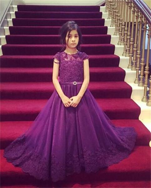 Cap Sleeve Lace Tulle Princess Dresses Custom Cute Little Flower Girl Dress Floor Length Hand Made Bows Kids Prom Birthday Dress
