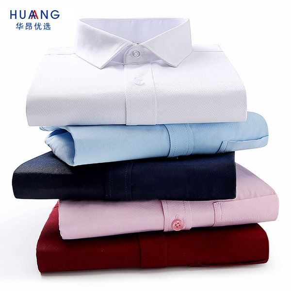 2018 Solid Cotton Social Shirts Mens Dress Shirts Regular Fit Long Sleeve Business Formal Shirts Male Plus Size Twill Work Uniform