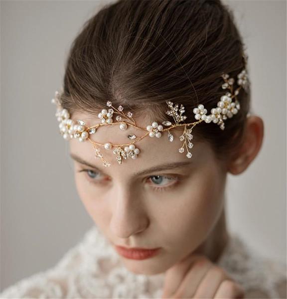 İnci Forehead Kafa Düğün Gelin Tiara Taç Kristal Rhinestone Saç Aksesuarları Bant İnci Çiçeği başlıkiçi Altın Gümüş Headdress Pin