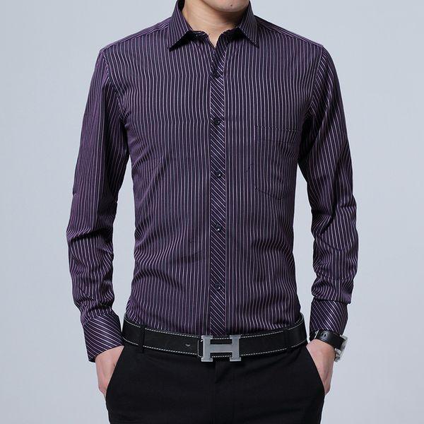 2018 New Men Shirts Business Long Sleeve Striped Cotton Shirt Slim Fit Social Brand Clothing Formal Shirt Man Asian Size S-5XL