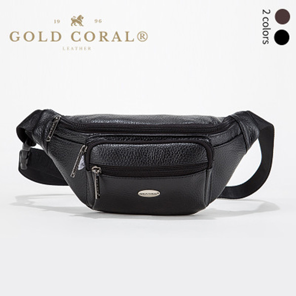 GOLD CORAL Genuine Leather Casual Belt Waist Bag For Men Phone Pouch Travel Bum Hip Waist Pack Men's Phone Case bag Fanny Pack
