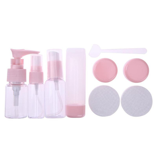 9Pcs/Set Plastic Travel Makeup Storage Bottles Clear Empty Cosmetic Lotion Sprayer Press Pump Bottles Container Box with Case