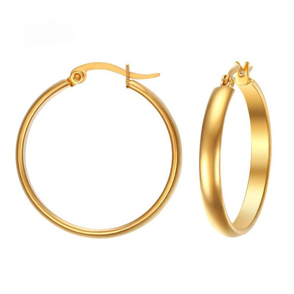 29MM Big Hoop Earrings for Women Gold Color Simple Elegant Stainless Steel Earring Trendy USA Style