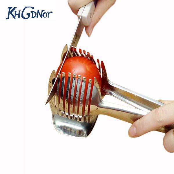 Khgdnor Stainless Steel Tomato Lemon Slicer Cutter Onion Lime Holder Fruit Stand Cutting Holder Kitchen Slicer Tool