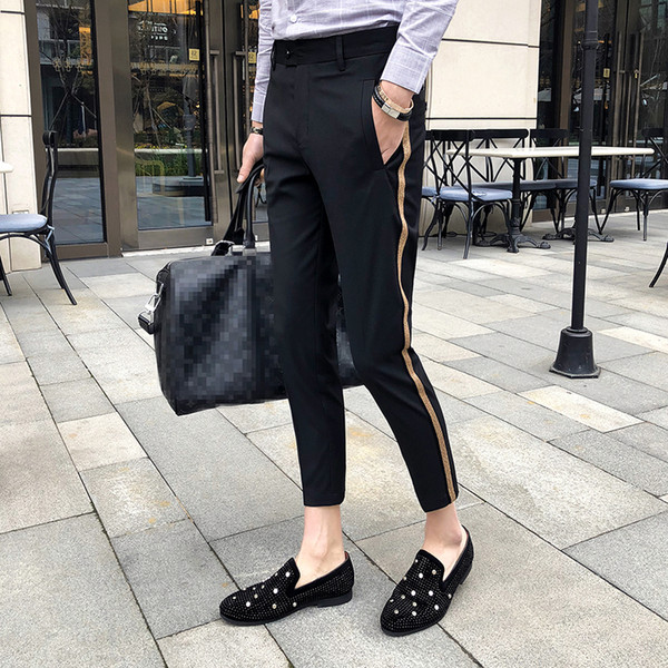 Side Tape Pant 2018 Pantalones de vestir para hombre Business Casual Pantalones de oficina Ment Longitud del tobillo Pantalon Homme Slim Fit Men Social Trouser