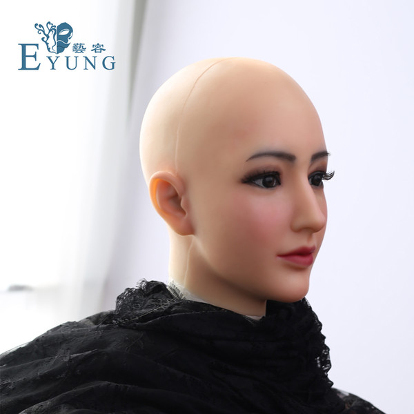 drag queen silicone mask Alice female Goddess Alice female face mask with light makeup for crossdresser Masquerade Hide facial scars