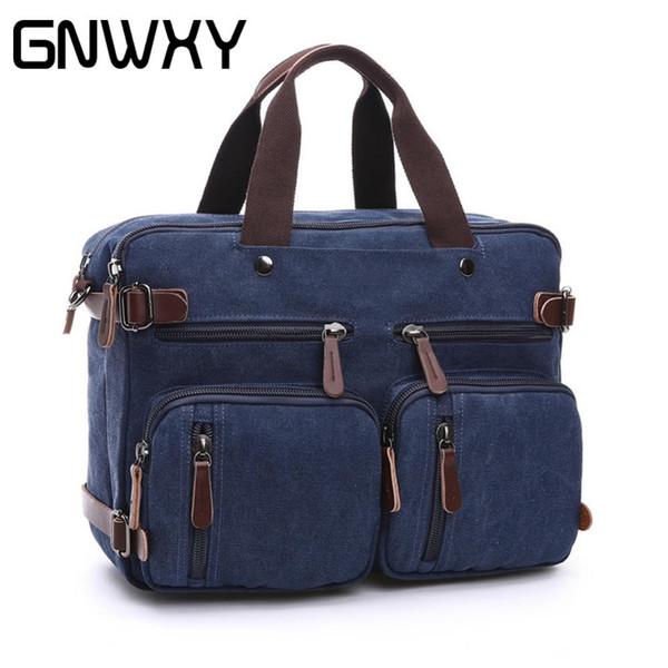 GNWXY Men Laptop Handbag Messenger Bag Multi-functional Travel Business Briefcase Bags Case With Handle and Hide Shoulder Strap