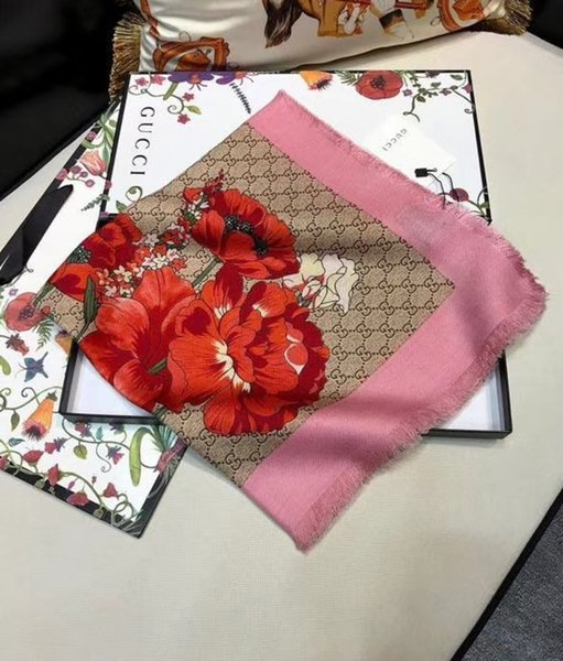 Version coréenne de la nouvelle fleur d'automne et d'hiver des femmes en cachemire imprimer contraste couleur Simple Style écharpes châles