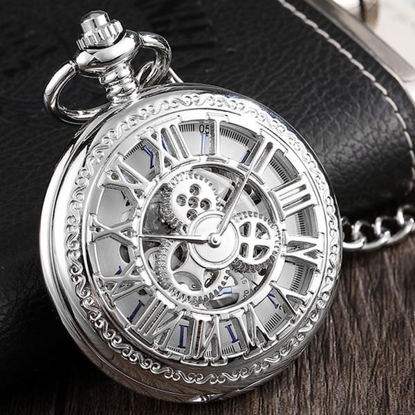 Retro Big Roman Numeral Gears Mechanical Pocket Watch Men Hand Wind Steampunk Hollow Fob Clock Necklace Chain For Women Boy Gift