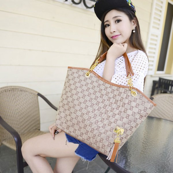 Pink sugao 2018 new style 6 color canvas print letter handbag brand purse fashion chain bag with tassels shoulder bags