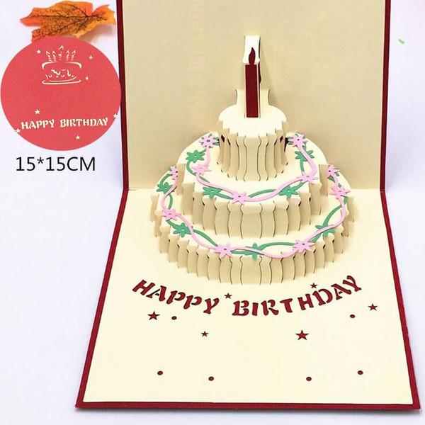 Doğum Günü 3D Tebrik Kartı Hollow Kek Tebrik Kartı Doğum Günü Hediyesi Yaratıcı Doğum Günü Üç Boyutlu Tebrik Kartları H0184