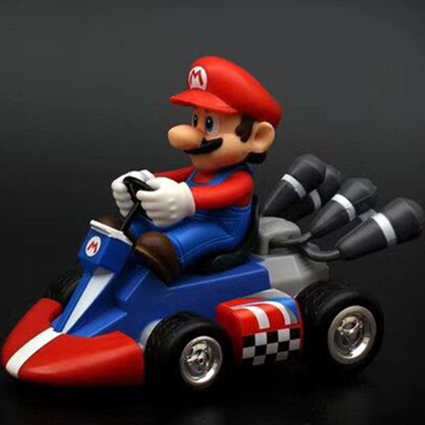 12cm Super Mario Bros Kart Car Mario Kart Yoshi Racing Car PVC Toys For Gift