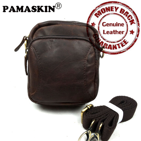 Men Messenger Bags Vintage Crazy Horse Genuine Leather 2017 New Arrivals Designer Zipper Men Waist Bags Belt Bags Factory Price