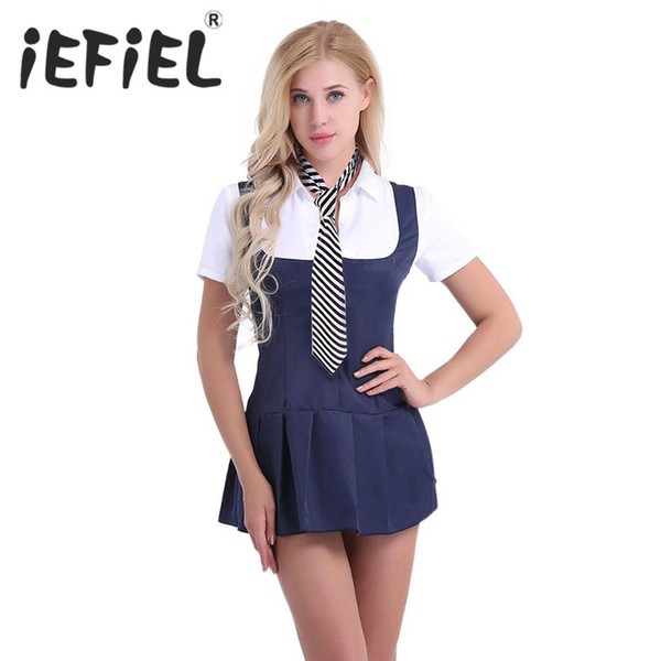 IEFiEL Sexy Frauen Erwachsene Schülerin Student Cosplay Kostüm Kleid Uniform Phantasie Shirt Dress Up Kleidung Dessous Set mit Krawatte