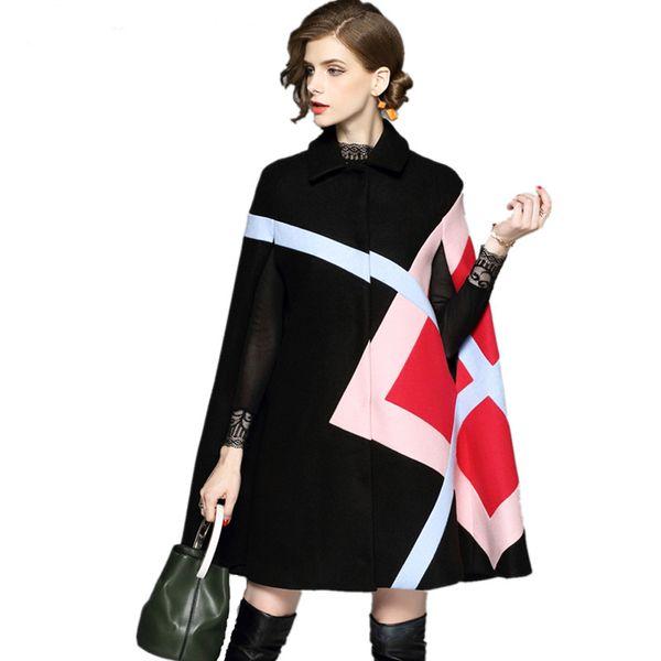 Novità 2018 Moda Donna Giacca invernale Fantasia geometrica Manica a pipistrello Caldo mantello di lana Poncho Mantella Cappotto Miscele di lana Capispalla