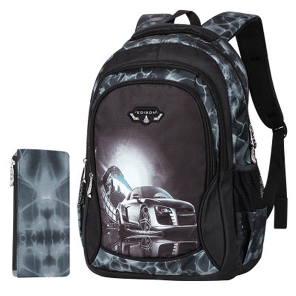 Zaini per Little Boys stampa Black Cool car Borse da scuola per bambini Cool Light BackPack Bambini Bookbags itineranti