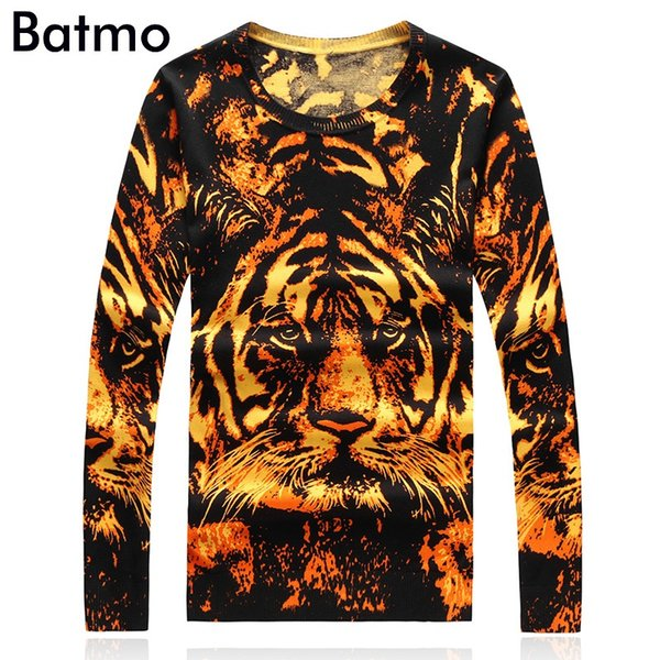 Batmo 2017 new arrival autumn&winter high quality print tiger casual men's sweater,casual sweater men,plus-size M-4XL 9945