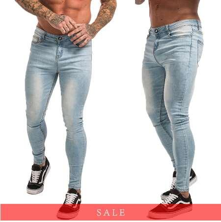 2019 Gingtto Skinny Jeans For Guys Stretch Jeans Light Blue Ripped Denim Jeans For Men Slim Fit Tight Pants Brand Hip Hop Zm32 From Fionac, $48.94  