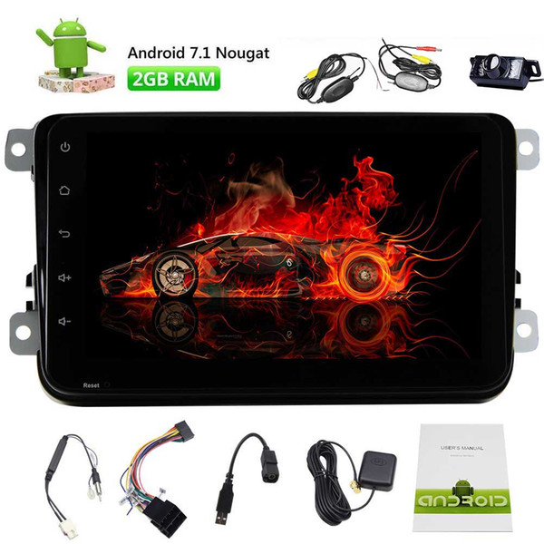 8'' Android 7.1 Double 2 Din Car Stereo Video Receiver Radio GPS Navi for VW Golf Polo Passat WIFI 4G Bluetooth Mirror