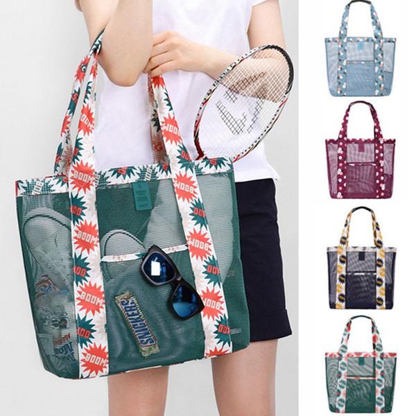Mode Frauen Tracing Shopping Mesh Floral Strandtaschen Frauen Speicher Umhängetasche Handtasche Geldbeutel Veranstalter HH7-1332