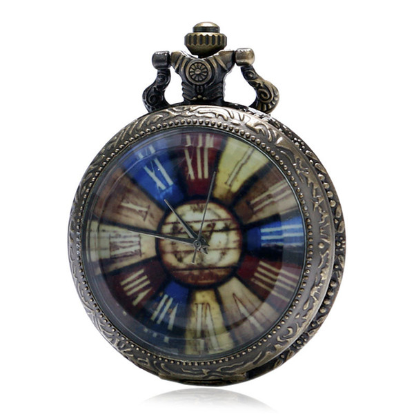 Transparent Crystal Cover Colorful Compass Roman Numerals Rainbow Roulette Dial Quartz Pocket Watch with Necklace Gift for Men Women