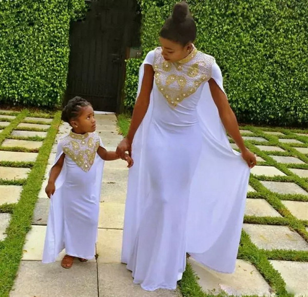 9cb7a2d770 2018 Mother and Daughter Matching Outfits Formal Dresses Party Evening High  Collar Fitted Long White Chiffon