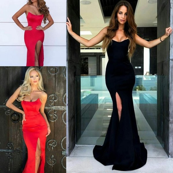 Sexy Mermaid Evening Dresses 2019 Strapless Formal Long Arabic Prom Dresses Tight Slit Sweetheart Sweep Train Stretch Satin