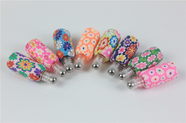10pcs/lot 5ml-6ml Perfume Vials with Roll-on Ball Perfume Roll on Polymer Clay Bottle Empty Essential Oil Bottle For X-mas Gift