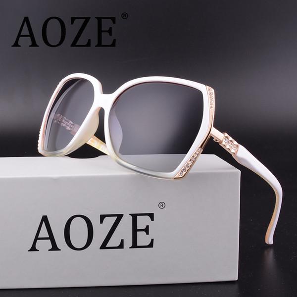 AOZE Luxury vintage lunettes de soleil polarisées femmes marque designer uv400 lunettes surdimensionnées Accessoires Gafas Diamond Insert Female