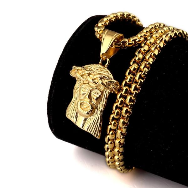 Hip Hop Erkekler Takı İsa Mesih İsa Parça Kolye Kolye ile mısır zincir uzunluğu 70 cm