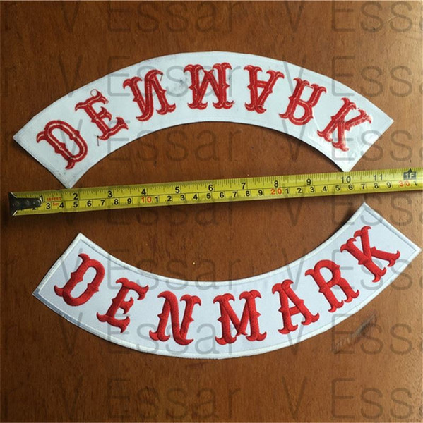 ANGELS DENMARK Custom Bottom Rocker Stickerei Patches für Jacke Motorrad Weste Größe 30X7CM
