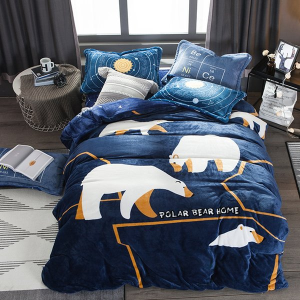 Warm Winter Flannel Duvet Cover Set Queen Size White Bear Duvet Cover Fleece Bed Sheet Pillow Case Cartoon Children Bedding Sets