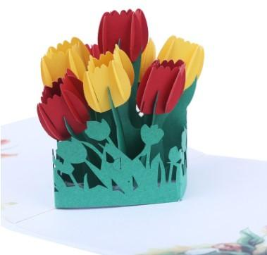 Fábrica de suministros de impresión en color tarjetas 3D tulipán tridimensional papel talla de San Valentín flores tridimensionales tarjetas hechas a mano