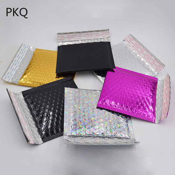 50pcs / lot 15 * 13 cm imperméable à l'eau coloré en plastique bulle enveloppe sacs postaux anti-pression anti-statique 6 couleur